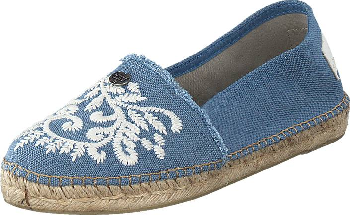 Odd Molly Oddspadrillos Embroidered Navy, Kengät, Matalapohjaiset kengät, Slip on, Sininen, Naiset, 37