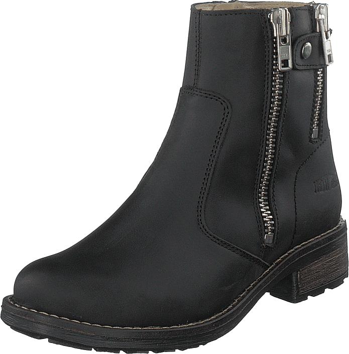 Johnny Bulls Low Zip Boot Black / Shiny Silver, Kengät, Bootsit, Kengät, Musta, Naiset, 36
