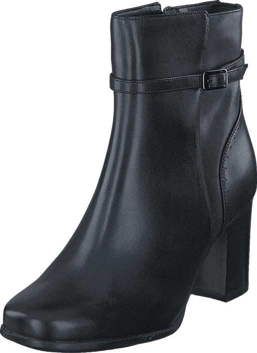 Clarks Kensett Diana Black Leather, Kengät, Saappaat ja saapikkaat, Korkeat nilkkurit, Musta, Naiset, 37