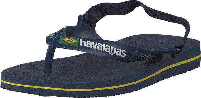 Havaianas Baby Brasil Logo Ii Navy Blue/citrus Yellow, Kengät, Sandaalit ja tohvelit, Flip Flopit, Sininen, Unisex, 21
