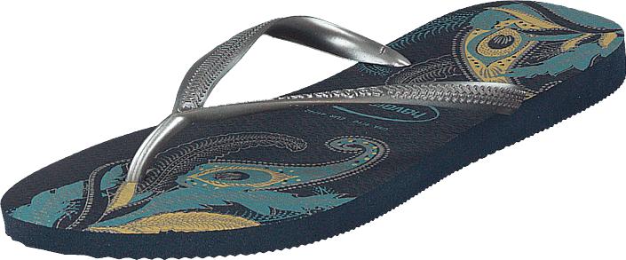 Havaianas Slim Organic Navy/silver, Kengät, Sandaalit ja tohvelit, Flip Flopit, Sininen, Harmaa, Naiset, 35