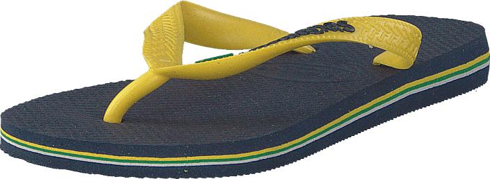 Havaianas Brasil Logo Navy Blue/citrus Yellow, Kengät, Sandaalit ja tohvelit, Flip Flopit, Sininen, Keltainen, Unisex, 35