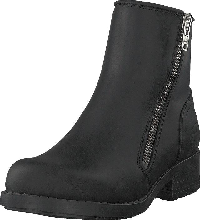 Johnny Bulls Mid Zip Boot Warm Lining Black/shiny Silver, Kengät, Bootsit, Korkeavartiset bootsit, Musta, Naiset, 35