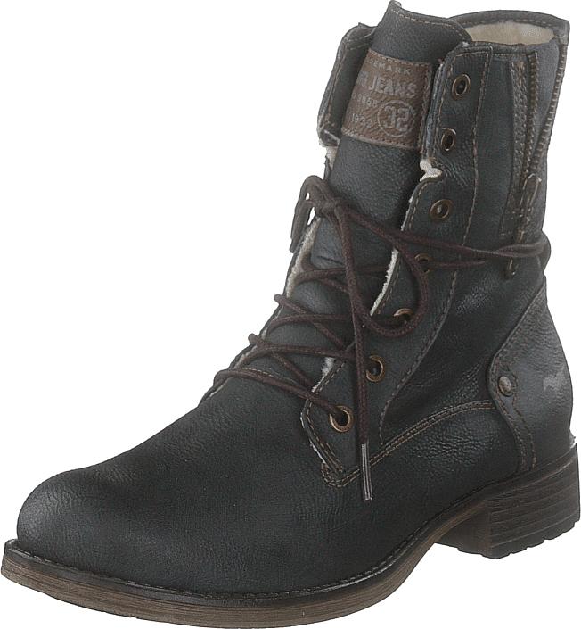 Mustang Damen-schnür Booty Graphit, Kengät, Bootsit, Korkeavartiset bootsit, Musta, Naiset, 36