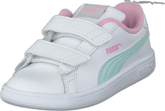Puma Smash V2 L Inf Puma White-fair Aqua-pale Pink, Kengät, Sneakerit ja urheilukengät, Varrettomat tennarit, Valkoinen, Unisex, 23