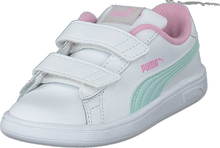 Puma Smash V2 L Inf Puma White-fair Aqua-pale Pink, Kengät, Sneakerit ja urheilukengät, Varrettomat tennarit, Valkoinen, Unisex, 19