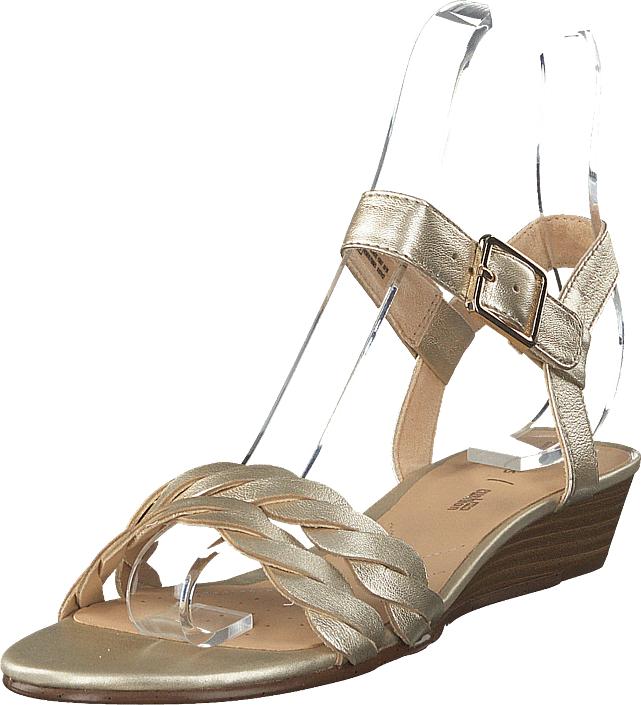 Clarks Mena Blossom Champagne, Kengät, Korkokengät, Matalakorkoiset sandaalit, Beige, Ruskea, Naiset, 41