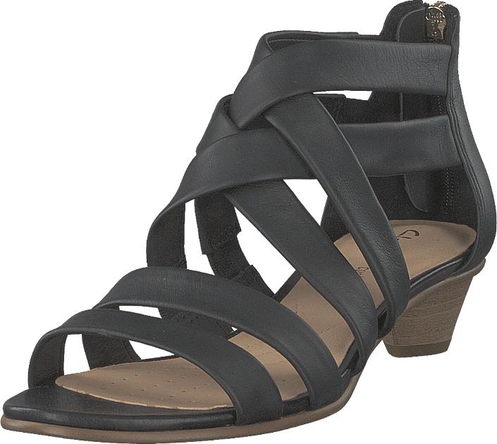 Clarks Mena Silk Black Leather, Kengät, Korkokengät, Matalakorkoiset Sandaletit, Harmaa, Naiset, 37