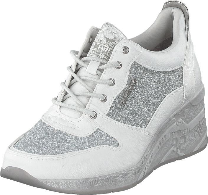 Mustang 1319301 121 Weiß/silber, Kengät, Sneakerit ja urheilukengät, Sneakerit, Valkoinen, Naiset, 37