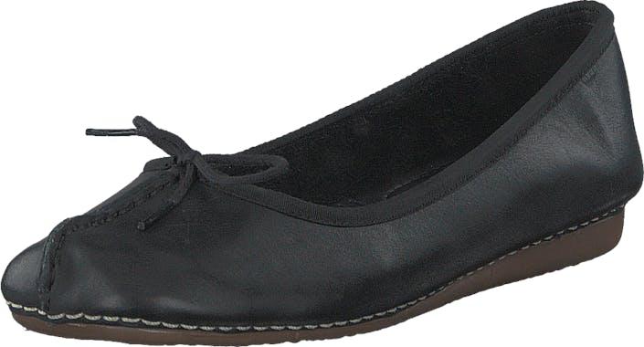 Clarks Freckle Ice Black Leather, Kengät, Matalat kengät, Ballerinat, Musta, Naiset, 37