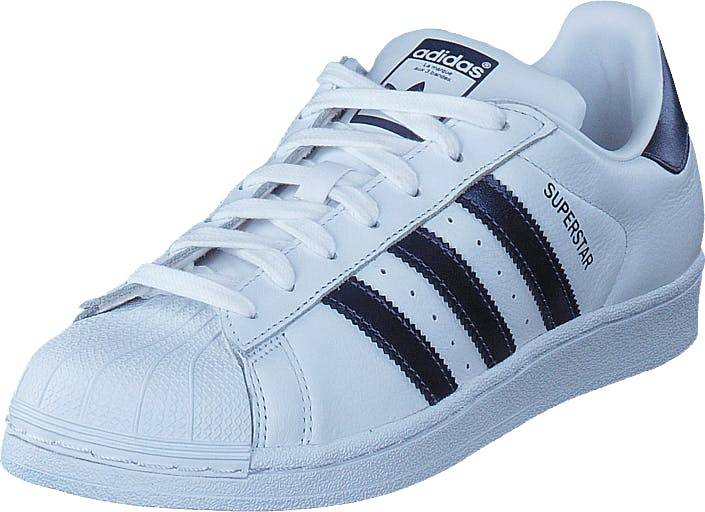 Image of Adidas Originals Superstar W Ftwr Wht/Purple Night Met/Wht, Kengät, Sneakerit ja urheilukengät, Sneakerit, Valkoinen, Naiset, 37