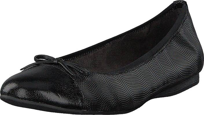 Image of Tamaris 22129-706 Black Structure, Kengät, Matalapohjaiset kengät, Ballerinat, Musta, Naiset, 37