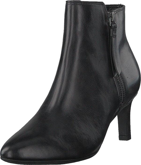 Clarks Calla Blossom Black Leather, Kengät, Saappaat ja saapikkaat, Nilkkurit, Musta, Naiset, 39