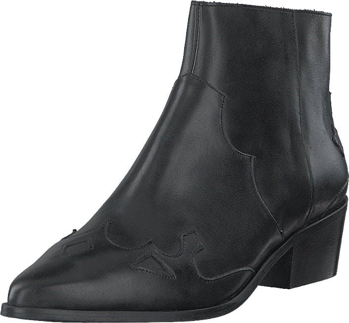Bianco Bismil Western Leather Boot 100 - Black, Kengät, Saappaat ja Saapikkaat, Nilkkurit, Harmaa, Naiset, 39