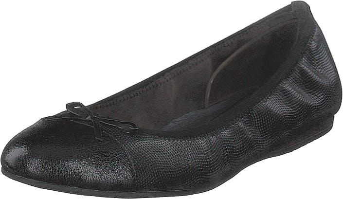 Image of Tamaris 1-1-22129-22 006 Black Structured, Kengät, Matalapohjaiset kengät, Ballerinat, Musta, Naiset, 37