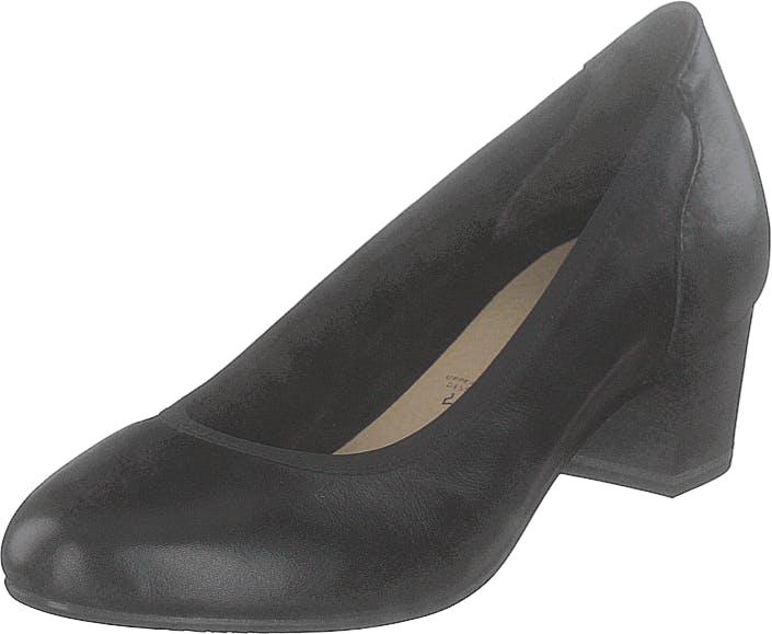 Image of Tamaris 1-1-22301-22 003 Black Leather, Kengät, Korkokengät, Matalakorkoiset avokkaat, Musta, Naiset, 40