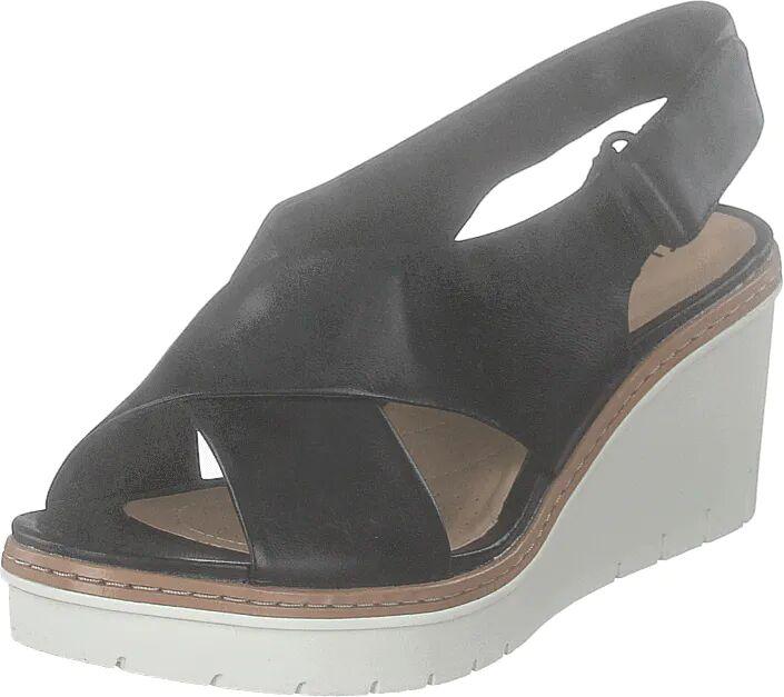 Clarks Palm Candid Black Leather, Kengät, Korkokengät, Matalakorkoiset Sandaletit, Harmaa, Naiset, 39