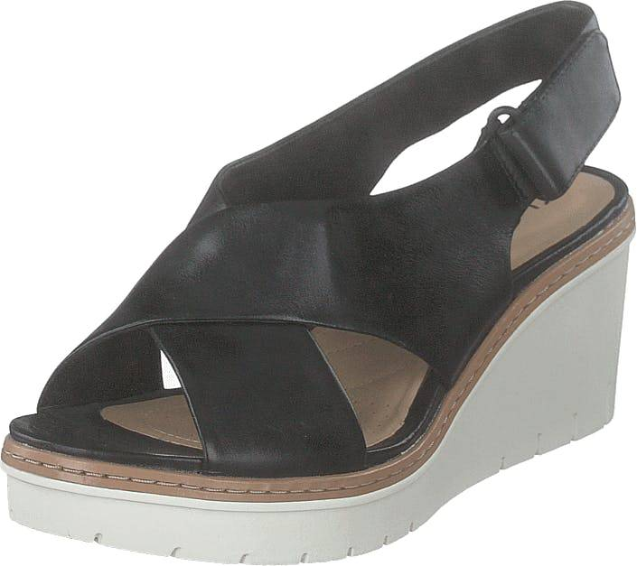 Clarks Palm Candid Black Leather, Kengät, Korkokengät, Matalakorkoiset Sandaletit, Harmaa, Naiset, 40