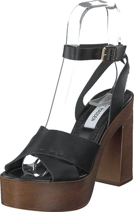 Steve Madden Liliana Black Leather, Kengät, Korkokengät, Matalakorkoiset Sandaletit, Harmaa, Ruskea, Naiset, 41