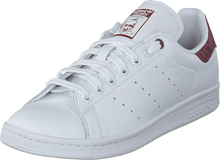 Image of Adidas Originals Stan Smith W Ftwr White/collegiate Burgundy, Kengät, Sneakerit ja urheilukengät, Varrettomat tennarit, Valkoinen, Naiset, 38