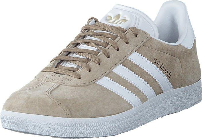 Image of Adidas Originals Gazelle W Trace Khaki F17/ftwr White/gol, Kengät, Sneakerit ja urheilukengät, Varrettomat tennarit, Valkoinen, Naiset, 38