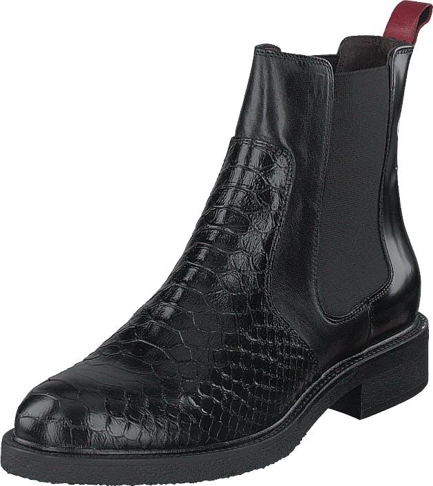 Billi Bi 7424-319 Black/red, Kengät, Bootsit, Chelsea boots, Musta, Naiset, 37