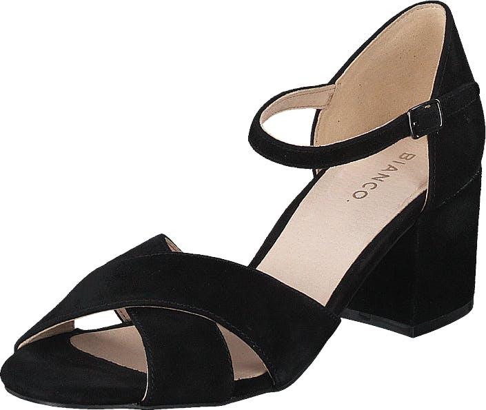 Bianco Biacate Suede Cross Sandal 101 Black 1, Kengät, Korkokengät, Matalakorkoiset Sandaletit, Musta, Naiset, 37