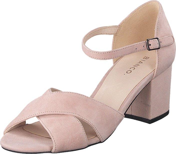 Bianco Biacate Suede Cross Sandal 491 Powder 1, Kengät, Korkokengät, Matalakorkoiset avokkaat, Vaaleanpunainen, Naiset, 39