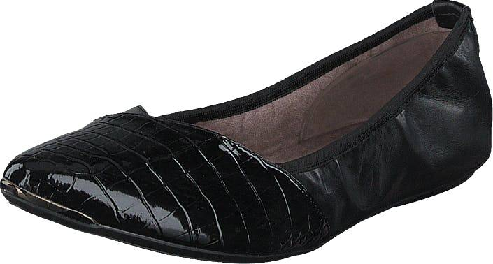 Butterfly Twists Ivy Black Patent Croc, Kengät, Matalat kengät, Ballerinat, Musta, Naiset, 37