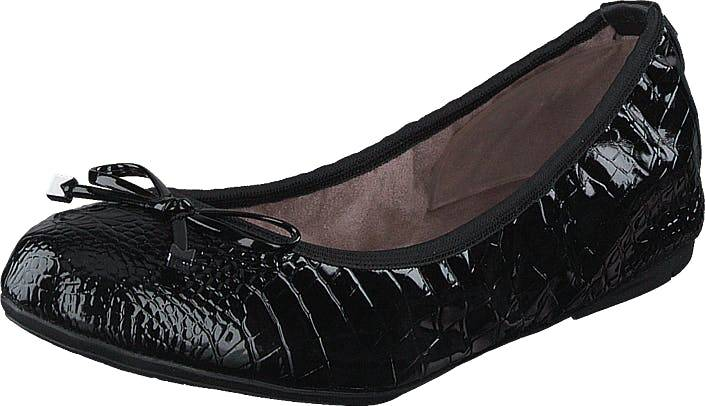 Butterfly Twists Frankie Black Patent Croc, Kengät, Matalat kengät, Ballerinat, Musta, Naiset, 39