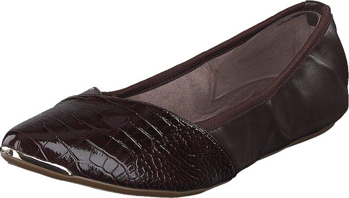 Butterfly Twists Ivy Brown Patent Croc, Kengät, Matalat kengät, Ballerinat, Ruskea, Harmaa, Naiset, 39
