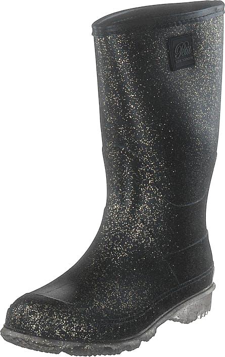 Petit by Sofie Schnoor Rubber Boot Black Gold, Kengät, Saappaat ja Saapikkaat, Kumisaappaat, Musta, Kulta, Lapset, 33