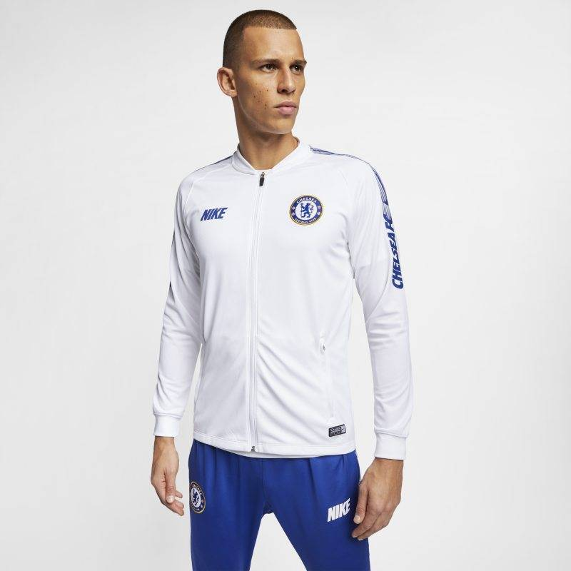 "Image of Nike ""Chelsea FC Dri-FIT Squad Men's Football Track Jacket - White"""