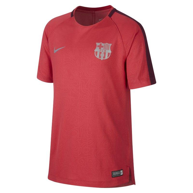 "Image of Nike ""FC Barcelona Dri-FIT Squad Older Kids' Short-Sleeve Football Top - Pink"""