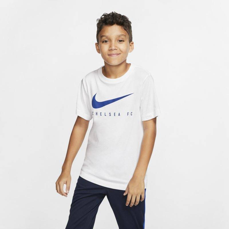 "Image of Nike ""Nike Dri-FIT Chelsea FC Older Kids' Football T-Shirt - White"""