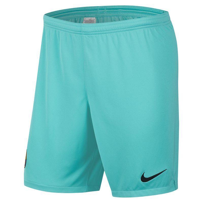 "Image of Nike ""FC Barcelona 2019/20 Stadium Goalkeeper Men's Football Shorts - Green"""