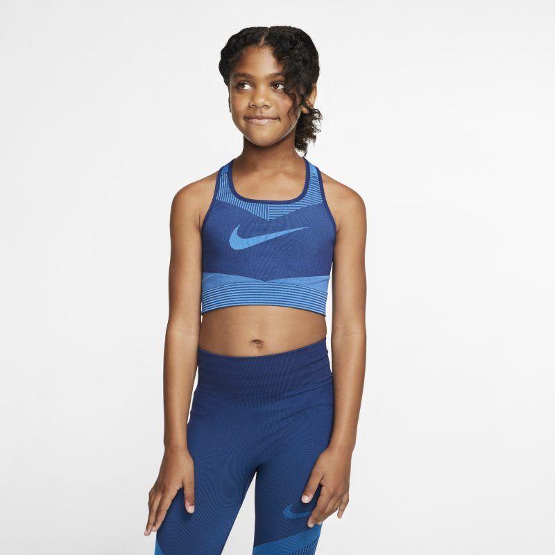 "Image of Nike ""Nike FE/NOM Older Kids' (Girls') Seamless Sports Bra - Blue"""