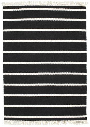 RugVista Dorri Stripe - Musta / Valkoinen -matto 140x200 Itämainen Matto