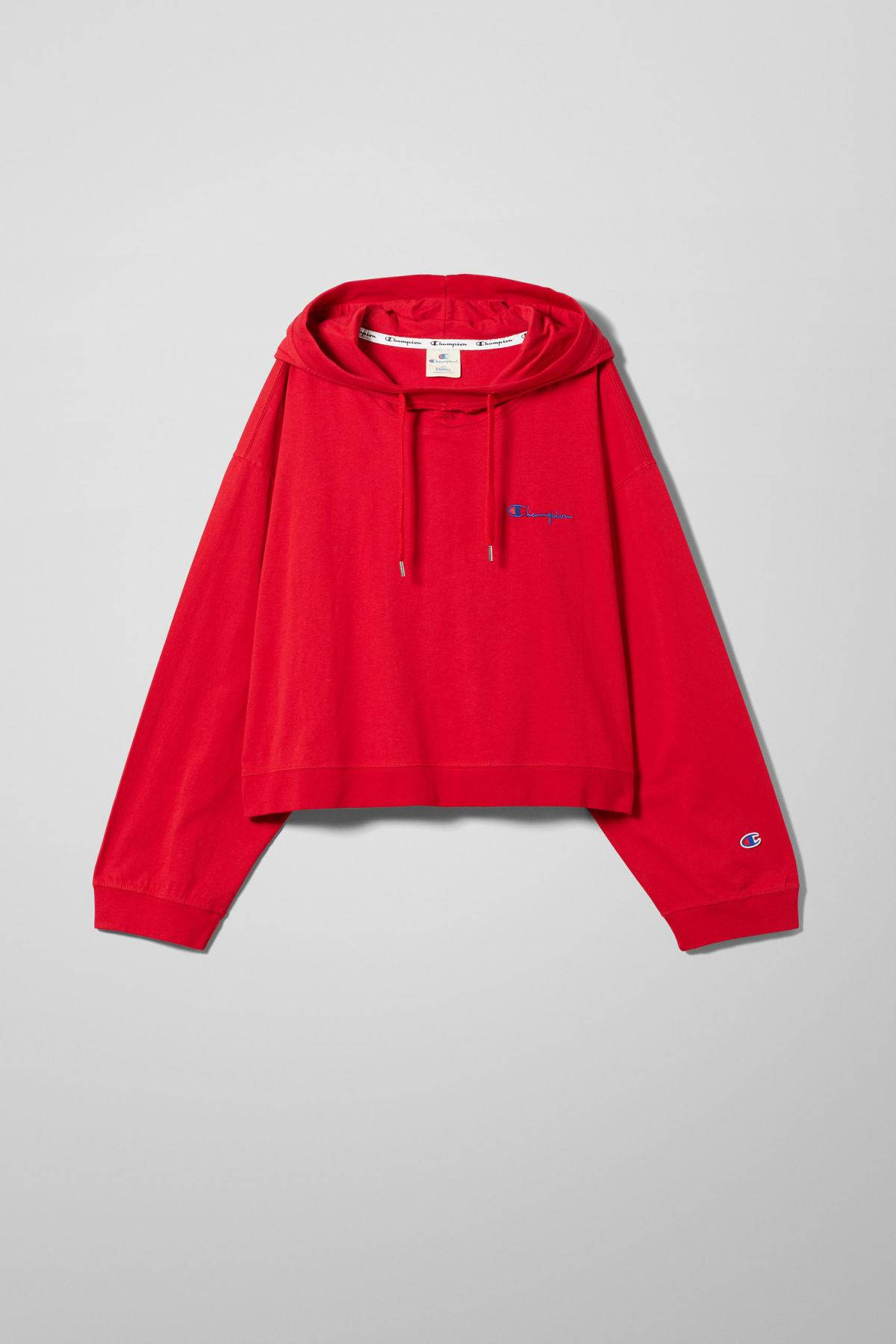 Dash Cropped Hoodie - Red-XS