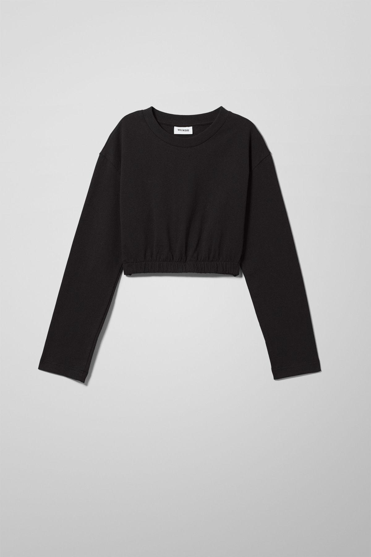 Image of Elin Cropped Long Sleeve - Black-XS