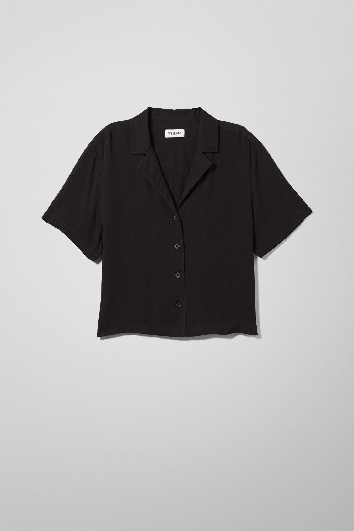 Image of Cyra Short Sleeve Shirt - Black-XS