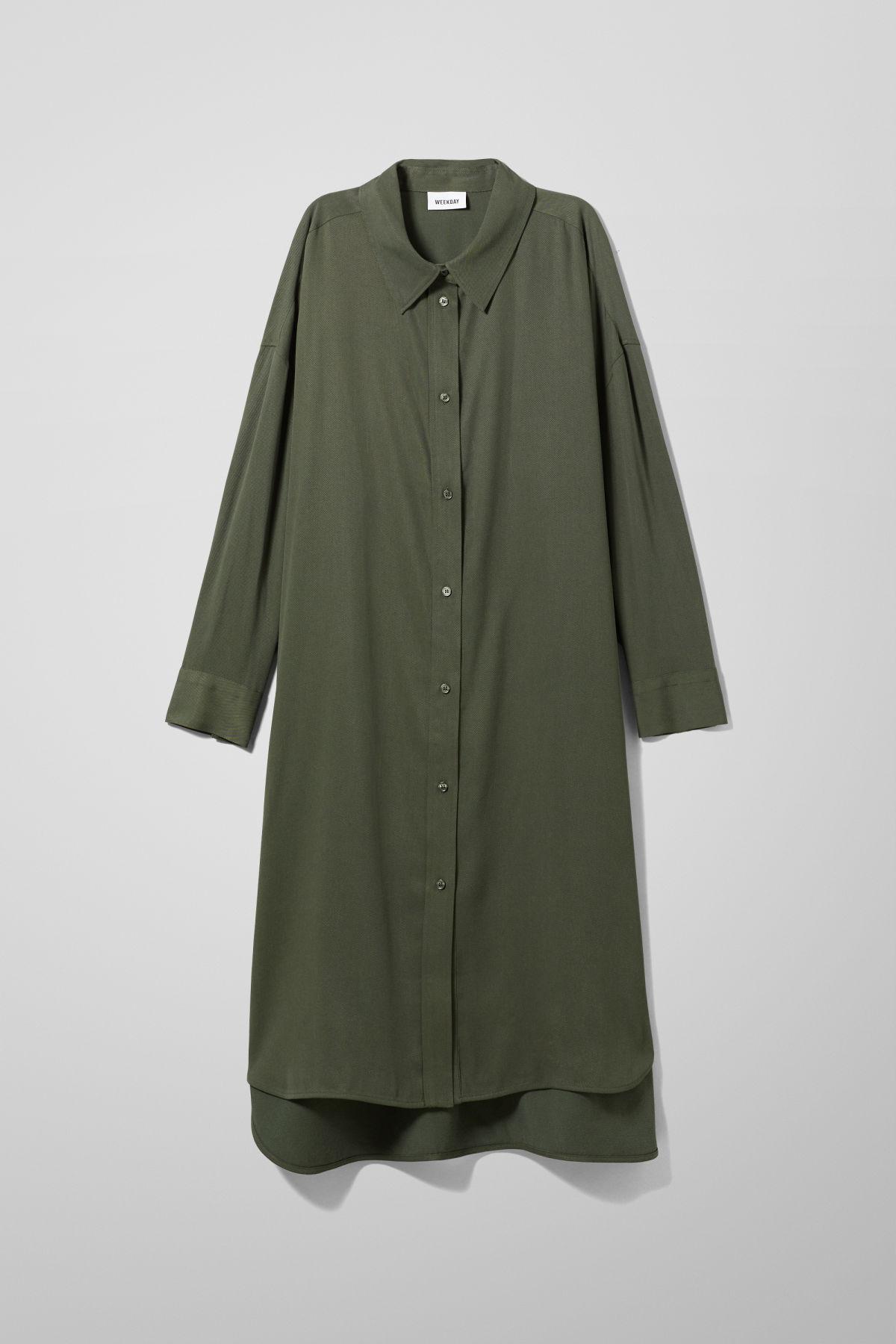 Image of Gladys Shirt Dress - Green-XS