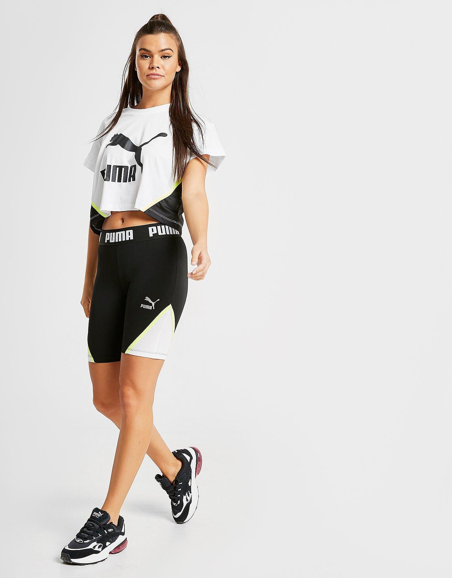 Image of Puma Colour Block Cycle Shorts - Only at JD - Womens, Musta