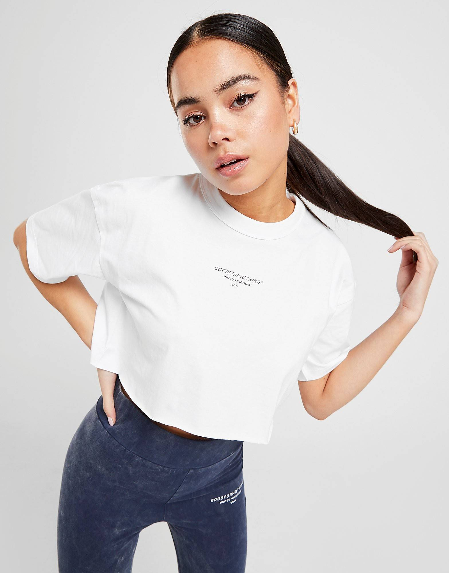 Image of Good For Nothing Crop Logo T-Shirt - Only at JD - Womens, Valkoinen