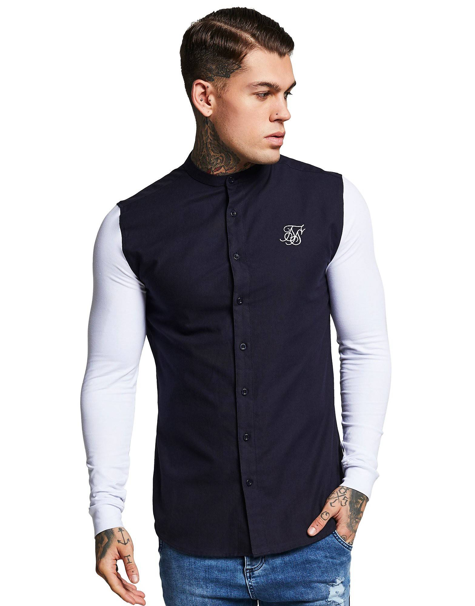 Image of SikSilk Long Sleeve Shirt - Only at JD - Mens, Laivastonsininen
