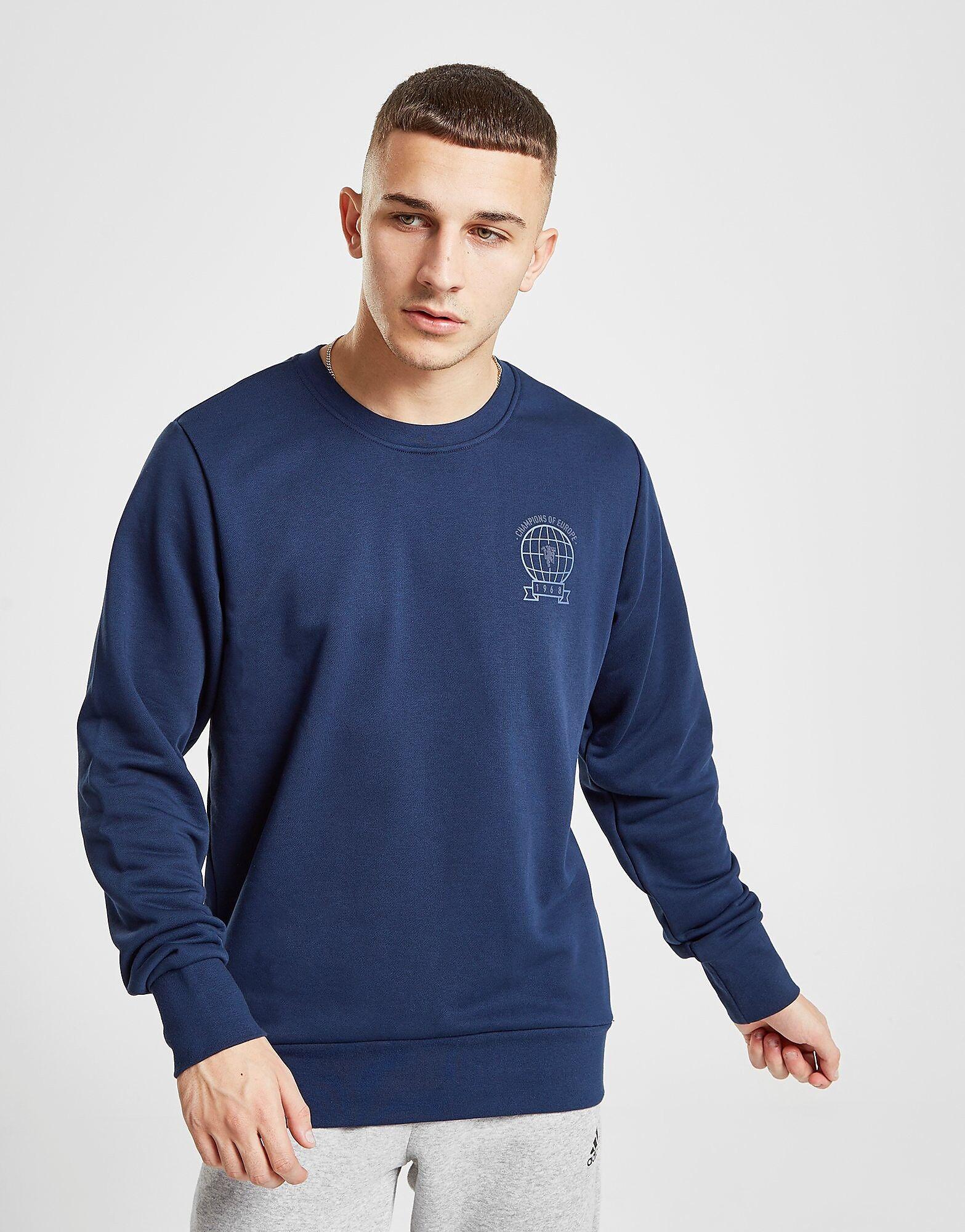 Image of Adidas Manchester United FC Crew Sweatshirt - Mens, Laivastonsininen