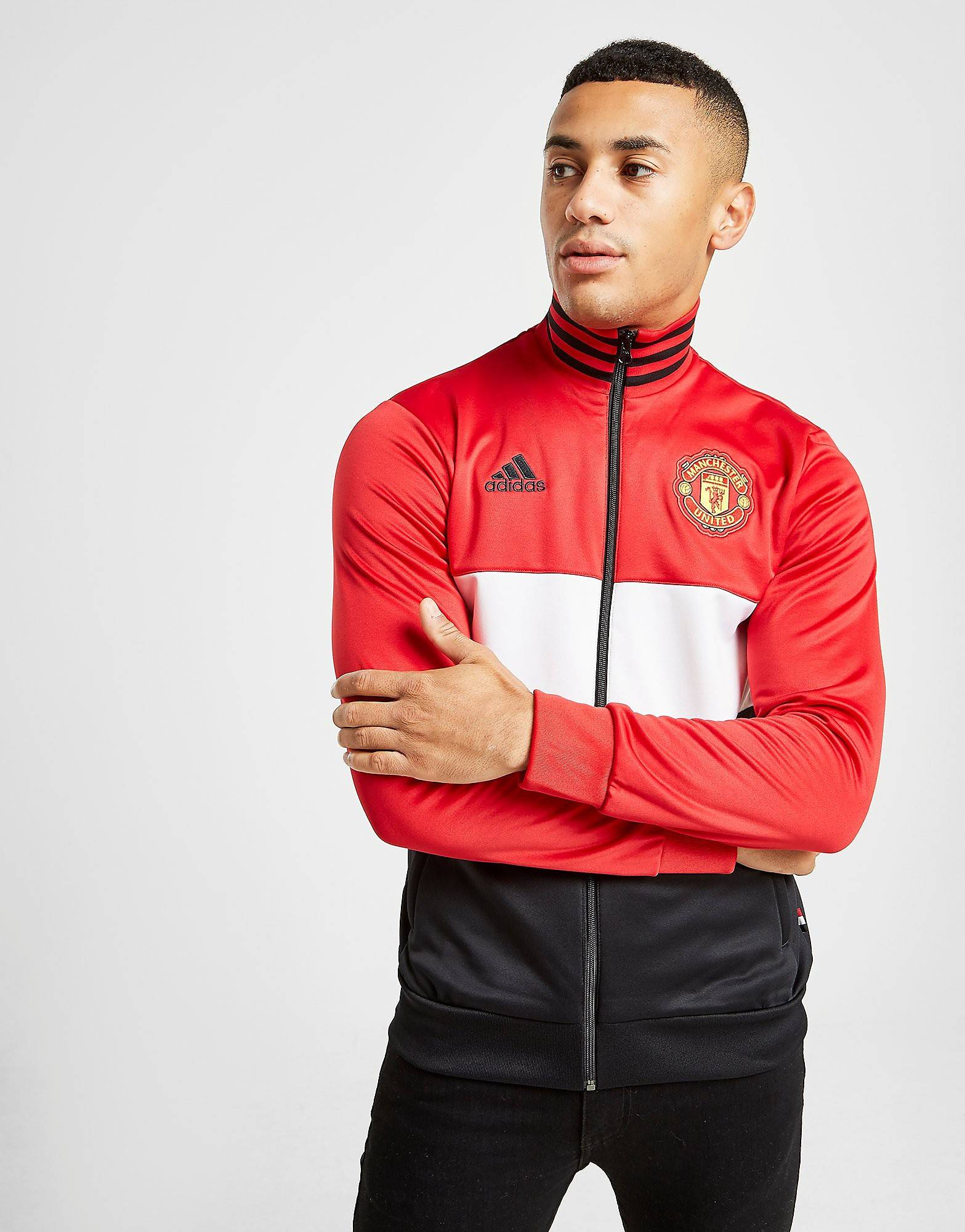 Image of Adidas Manchester United FC 3-Stripes Track Top - Mens, Punainen