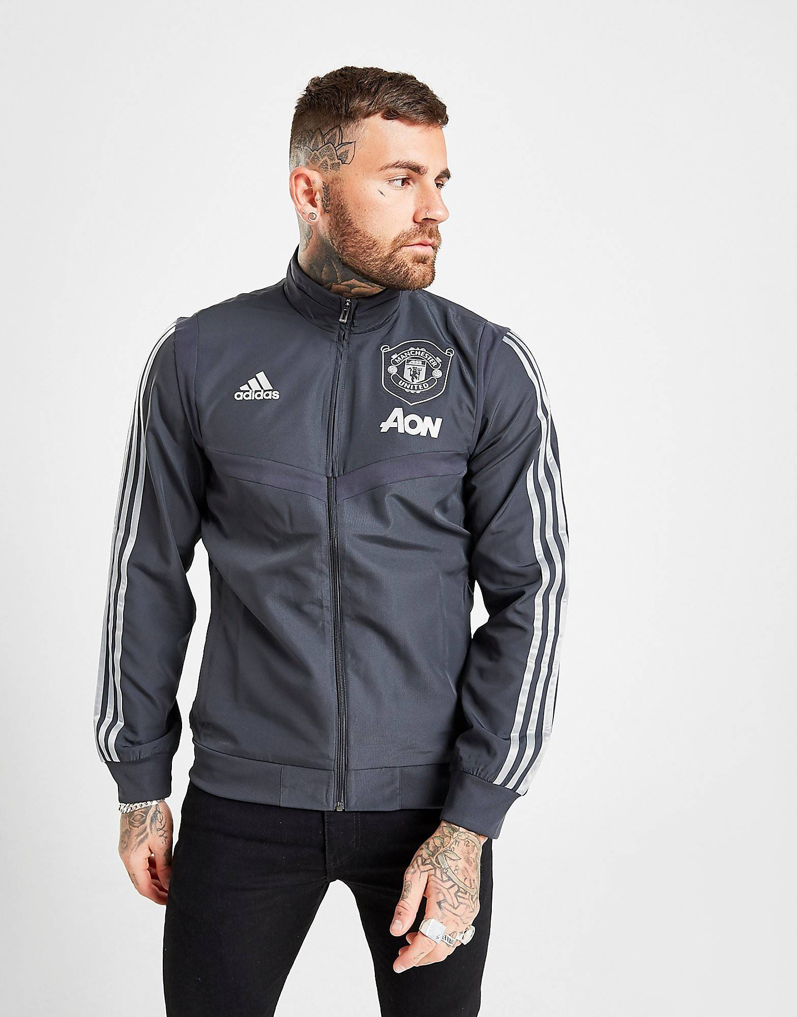Image of Adidas Manchester United FC European Pre Match Jacket - Mens, Carbon