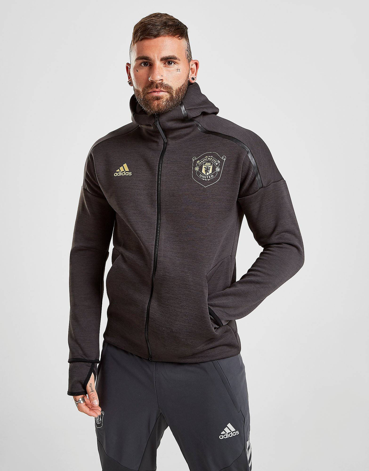 Image of Adidas Manchester United Z.N.E Hoodie 3.0 - Mens, Musta