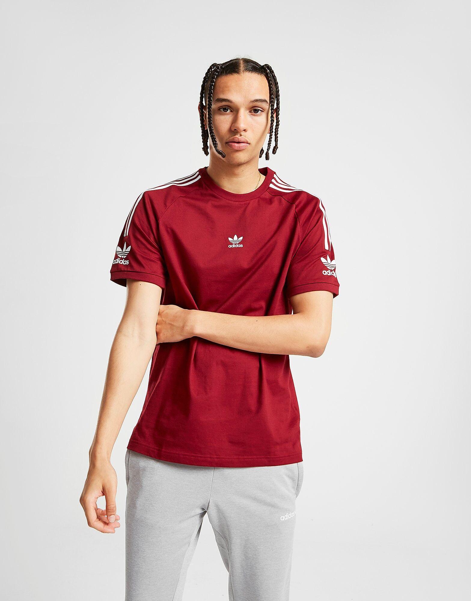 Image of Adidas Originals Central Logo Lock Up T-Shirt - Mens, Punainen